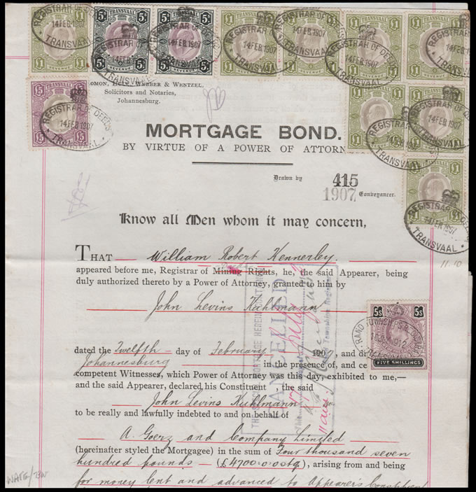 TRANSVAAL REVENUES 1907 MORTGAGE BOND KEVII VALUES TO £5