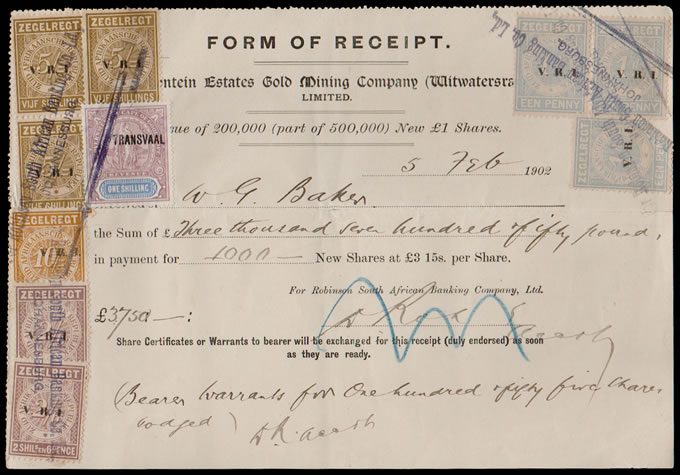 TRANSVAAL REVENUES 1902 SHARE PURCHASE RANDFONTEIN GOLD