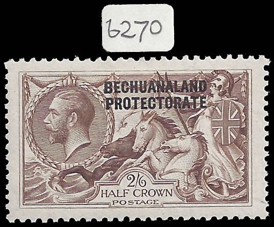 BECHUANALAND 1923 2/6 BRADBURY SEAHORSE VF/M WITH RE-ENTRIES