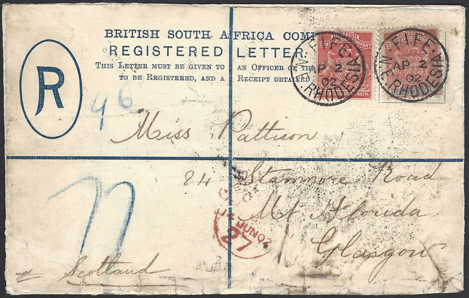 Rhodesia 1902 Registered Letter from Fife, Uprated 2s8d