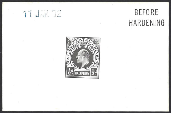 NATAL 1902 KEVII &frac12D POSTAGE REVENUE DIE PROOF BH 11 JAN 02