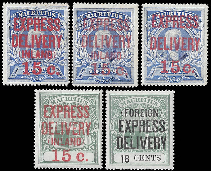 MAURITIUS EXPRESS STAMPS 1903-04 15C TO 18C GROUP