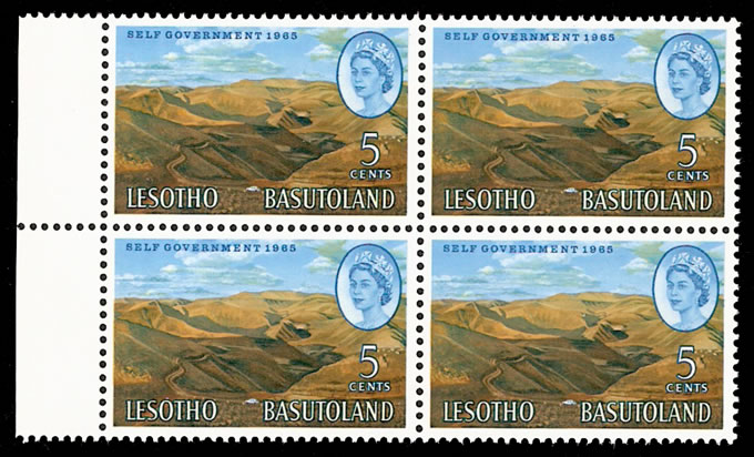 LESOTHO 1965 5C NEW CONSTITUTION WATERMARK INVERTED BLOCK