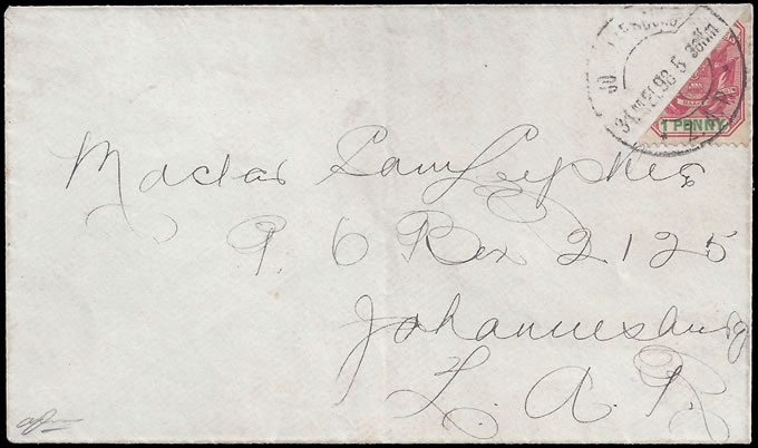 Transvaal 1898 Arms 1d Bisect on Johannesburg Letter