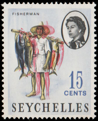 SEYCHELLES 1962 15C SHIFTED PINK, SCARCE
