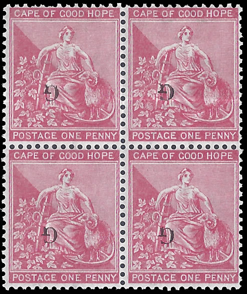 GRIQUALAND WEST 1878 SG 16a 1D TYPE 15 OVPT INVERTED BLOCK