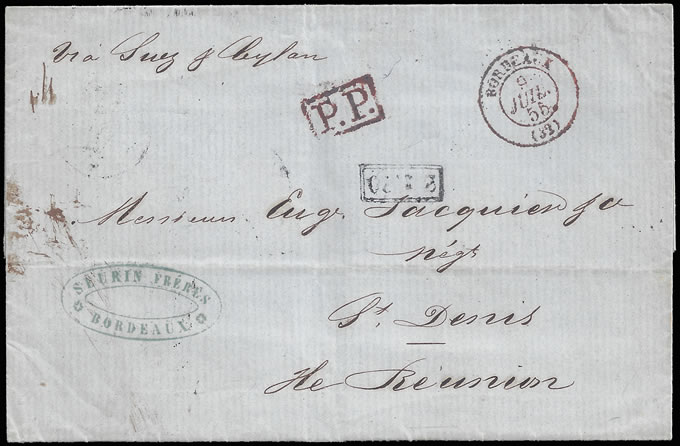 REUNION ISLAND 1855 LETTER WITH RARE TAX MARK