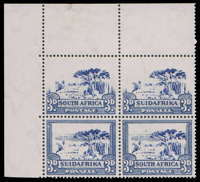SOUTH AFRICA 1933 3D FRAMES OMITTED, INTERRUPTED PRINT