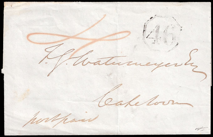 CAPE OF GOOD HOPE 1850 RARE OCTAGONAL 46 ON WRAPPER