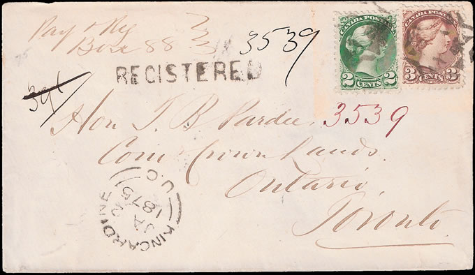 CANADA 1875 ATTRACTIVE REGISTERED LETTER