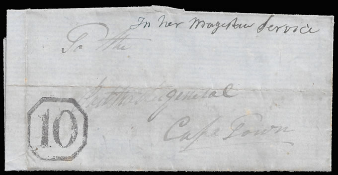 CAPE OF GOOD HOPE 1850 STELLENBOSCH OCTAGONAL 10, RARE