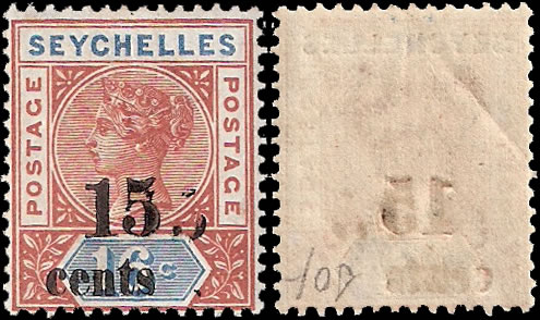 SEYCHELLES 1893 15C ON 16C SURCHARGE DOUBLE