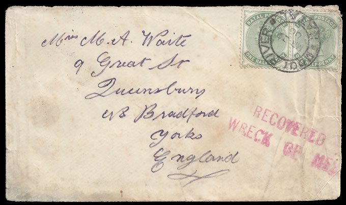NATAL 1900 RARE MEXICAN WRECK SALVAGED LETTER