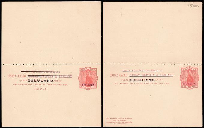 ZULULAND 1893 QV REPLY PAID CARD SPECIMEN