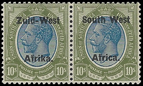 South West Africa 1923 KGV 10/- Setting II VF/M Pair, Rare UM
