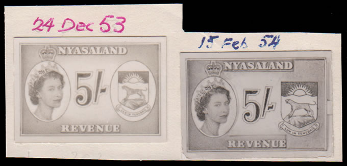 Nyasaland Revenues 1955 QEII Bradbury Archival Photo-Essays