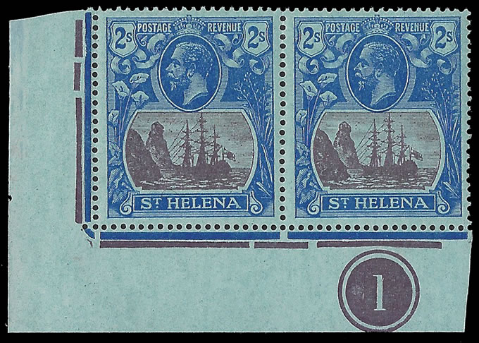 Saint Helena 1922 Badge Issue 2/- Cleft Rock Plate No Pair