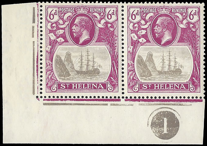 Saint Helena 1922 Badge Issue 6d Cleft Rock in Plate No Pair