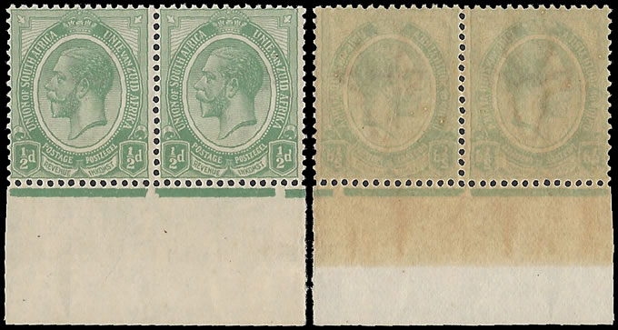 South Africa 1913 KGV ½d Green Offset Variety Pair UM