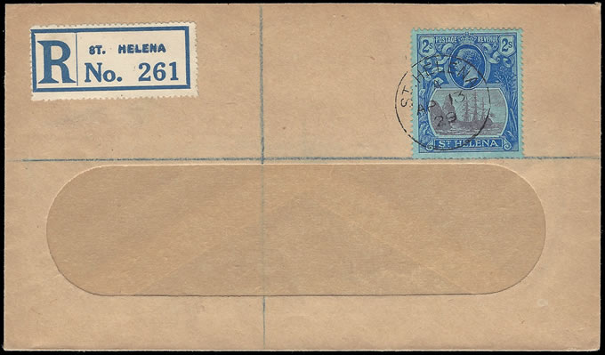SAINT HELENA 1929 KGV 2/- ON REGISTERED COVER TO UK
