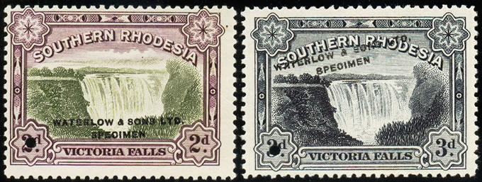 Southern Rhodesia 1932 Falls Waterlow Specimens