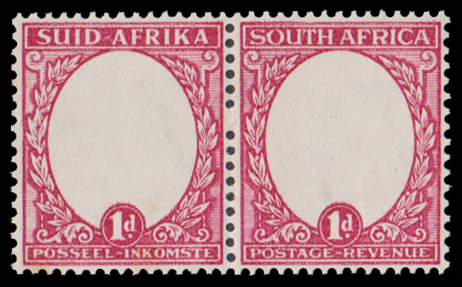 South Africa 1934 1d Centre Vignettes Omitted, Rare