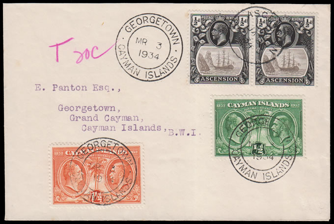 ASCENSION 1934 UNDERFRANKED/TAXED/POSTAGE DUE TO CAYMAN ISL