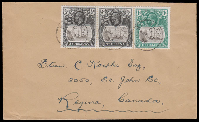SAINT HELENA 1934 BADGE ISSUE FRANKING TO CANADA