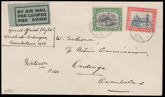 SOUTH WEST AFRICA 1935 OVAMBOLAND SPECIAL AIRMAIL, SIGNED
