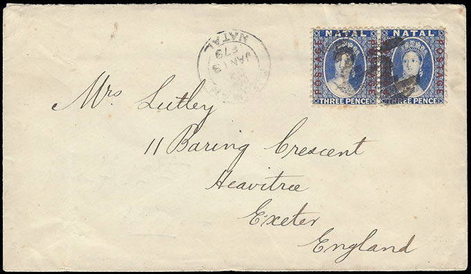NATAL 1879 COVER WITH PAIR 3D POSTAGE OVPTS, VIBRANT COLOUR
