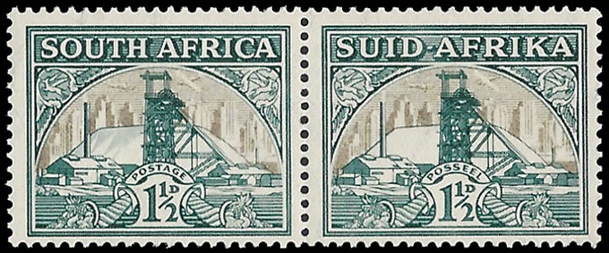 SOUTH AFRICA 1936 1½D GOLD MINE SHADING OMITTED