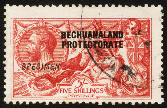 BECHUANALAND 1914 5/- GABON RECEIVING AUTHORITY SPECIMEN