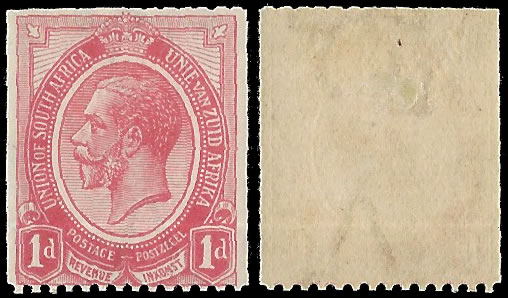 SOUTH AFRICA 1913 KGV 1D COIL INVERTED WATERMARK, RARE