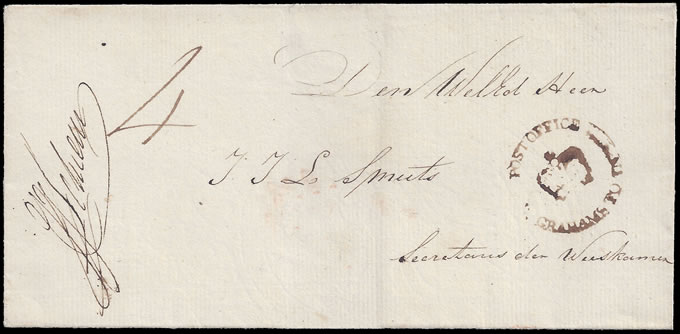 CAPE OF GOOD HOPE 1828 GRAHAMS TOWN CROWN-IN-CIRCLE LETTER