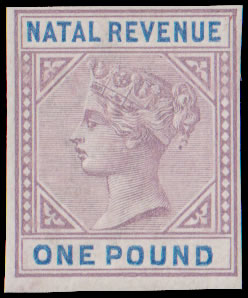 Natal Revenues 1885 QV £1 Imperforate Plate Proof, Rare
