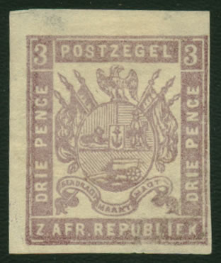 TRANSVAAL 1871 3D OTTO LILAC VARIETY IMPERF VF/M, RARITY!