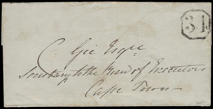 CAPE OF GOOD HOPE 1851 OCTAGONAL 34 ON ENTIRE FROM GEORGE