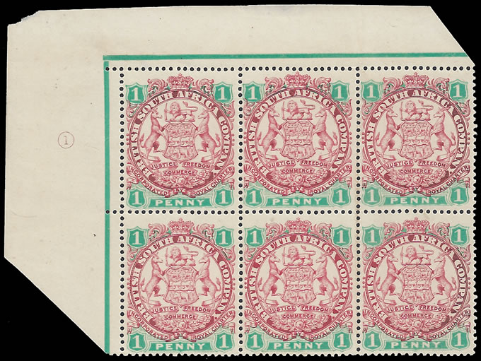 Rhodesia 1896 1d Arms Rare Plate Number Block