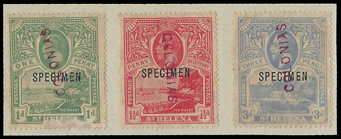 SAINT HELENA 1922 MONOCOLOURS RECEIVING AUTHORITY SPECIMENS