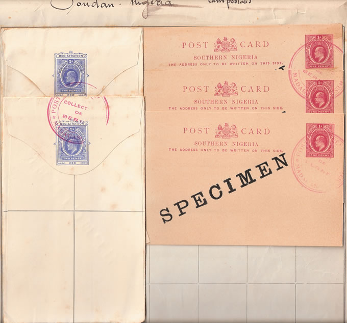 SOUTHERN NIGERIA 1903 MADAGASCAR UPU KEVII STATIONERY SPECIMENS