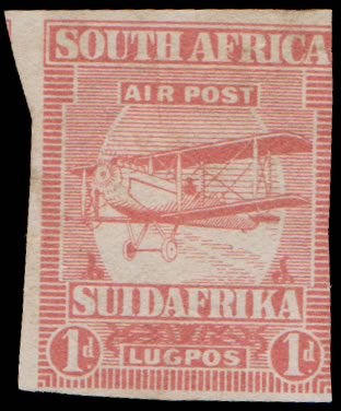 SOUTH AFRICA 1925 AIRMAILS 1D IMPERF PLATE PROOF, RARE