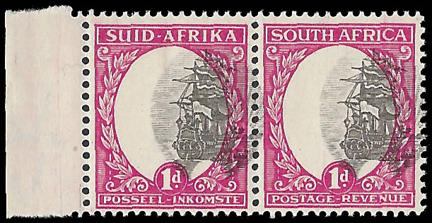 SOUTH AFRICA 1933 1D SPECTACULAR MISPLACED VIGNETTES, RARITY!