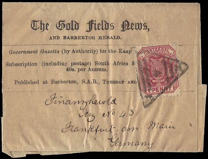 TRANSVAAL 1890 GOLD FIELDS NEWS WRAPPER, CODED TRIANGLE 4 PMK