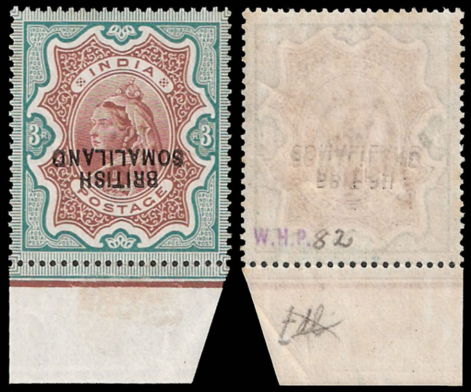 SOMALILAND 1903 QV 3R OVPT DOUBLE, BOTH INVERT, ONE ALBINO VF/UM