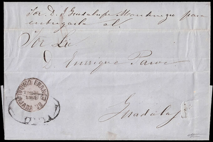 MEXICO 1868 GUADALAJARA RARE DOUBLE PRINT ON LETTER