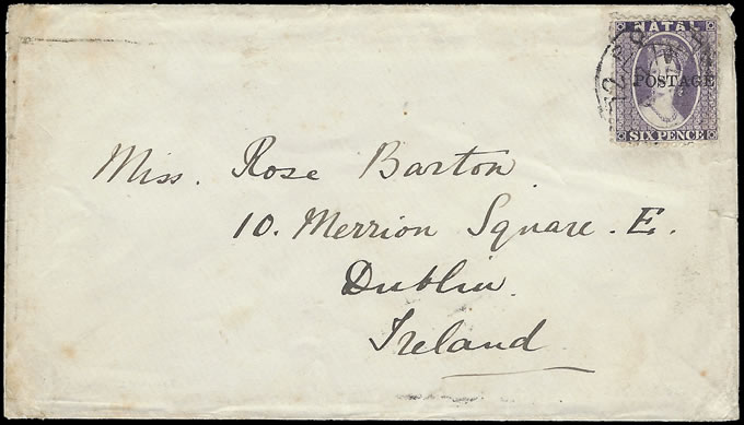 NATAL 1879 RARE SHIELD TYPE L1 CDS AS CANCEL FROM RICHMOND