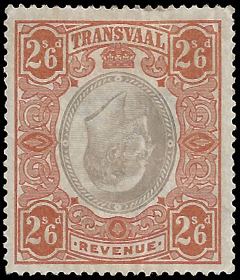 TRANSVAAL REVENUES 1902 KEVII 2/6 INVERTED CENTRE