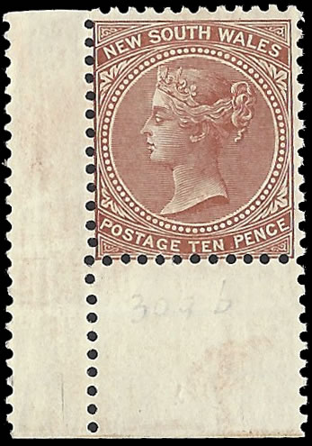 NEW SOUTH WALES 1899 QV 9D ON 10D VARIETY ALBINO SURCHARGE
