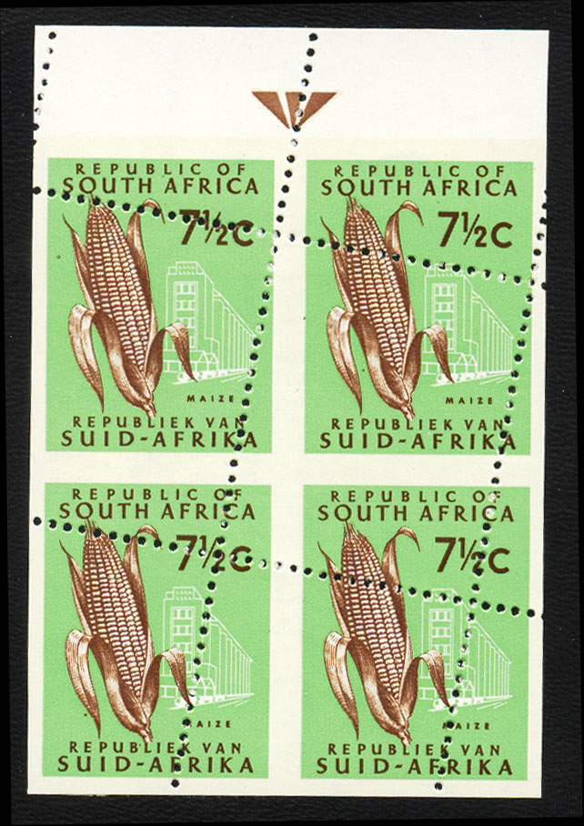 SOUTH AFRICA 1970 7½C SPECTACULAR MISPERF IN ARROW BLOCK