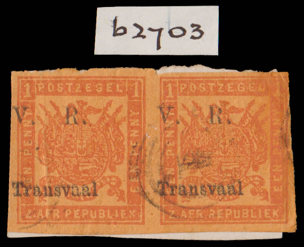 Transvaal 1877 Black Ovpt 1d Overprint Double Pair with Cert